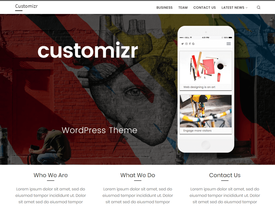 WordPress theme customizr