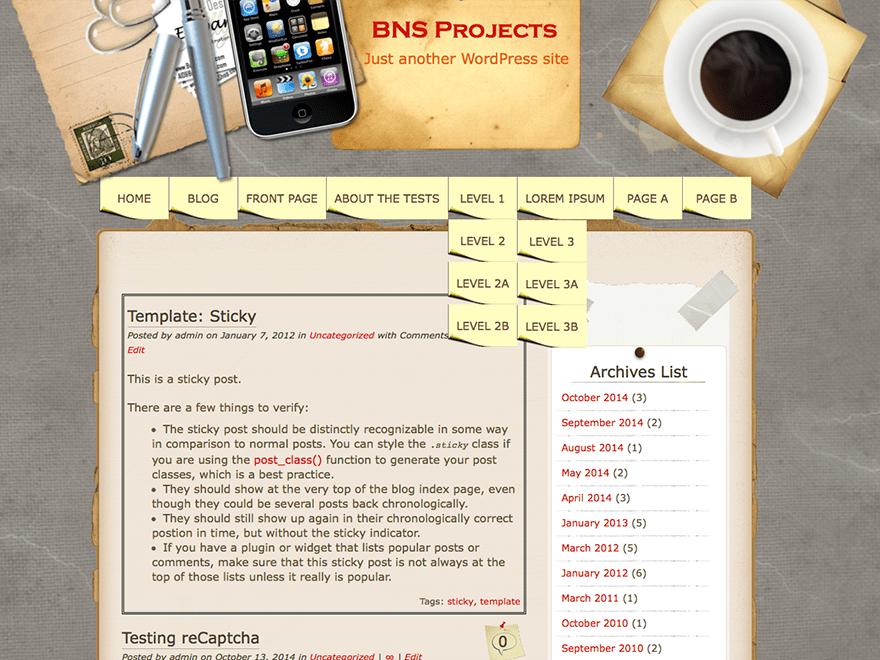 WordPress Theme Desk Mess Mirrored