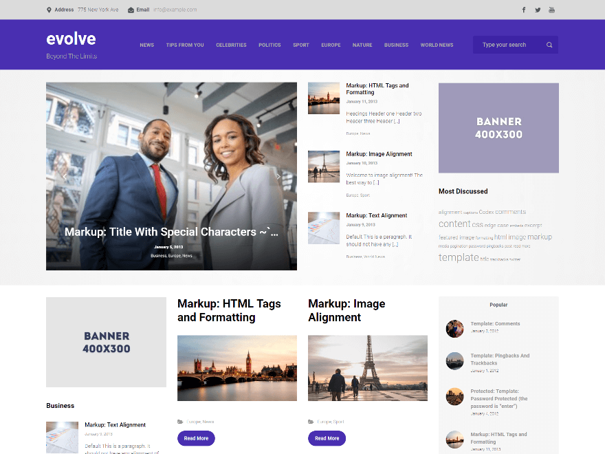 WordPress theme evolve