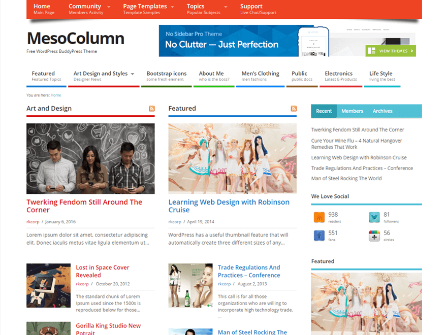 WordPress theme mesocolumn
