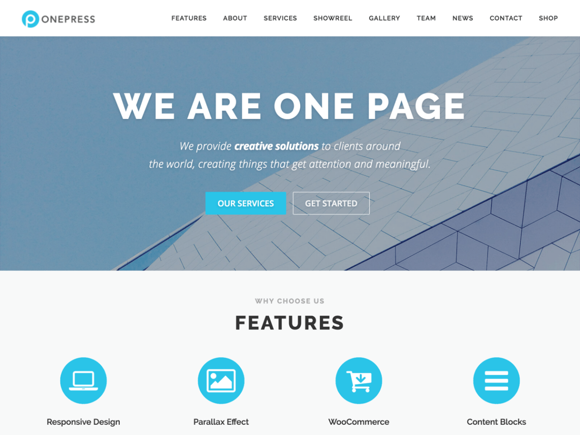 WordPress theme onepress