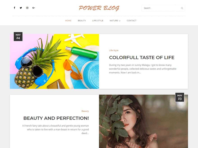 WordPress Theme Power Blog