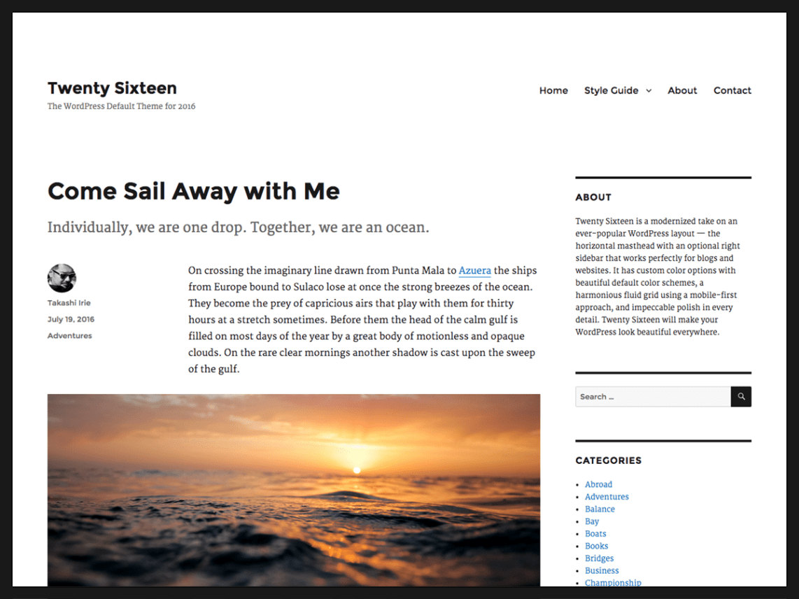 WordPress theme twentysixteen
